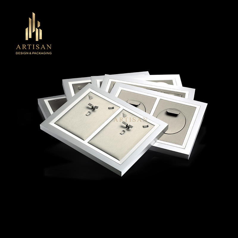Artisan custom Lacquer Jewellery Display Trays PU Leather Insert For Ring Necklace earring Wooden Serving Jewelry Tray
