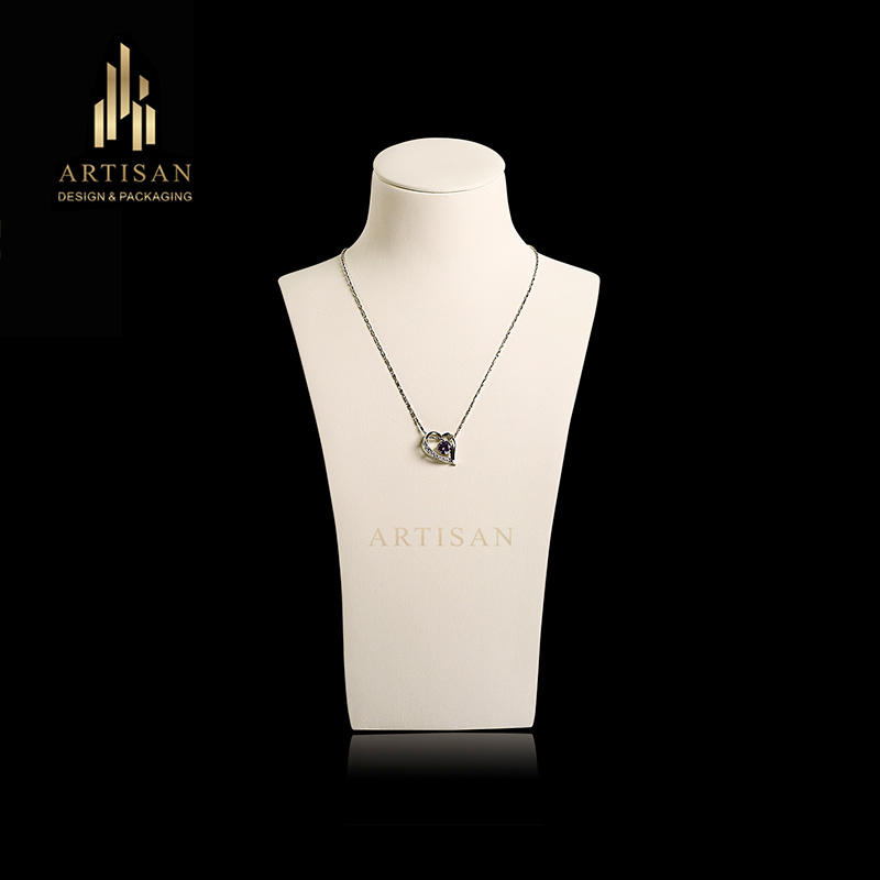 Custom Pu leather fiberglass jewelry bust for necklace display
