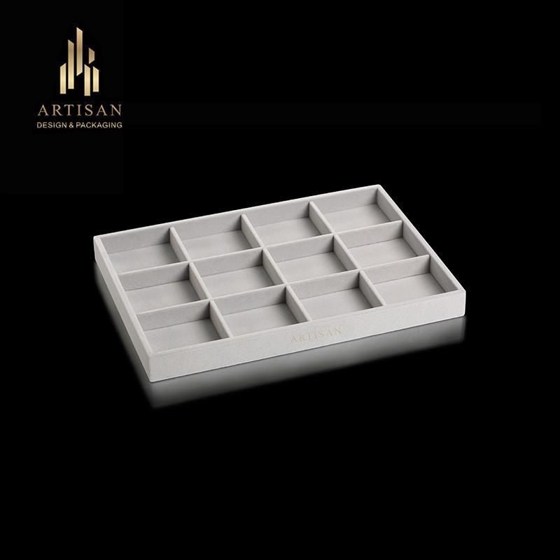 Hot Sale 12 grids Velvet slot Jewelry Tray