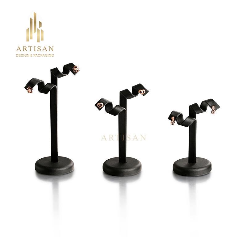 Black pu leather charming unique hanging earring display stand
