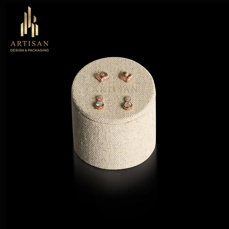 Round beige wood linen jewelry earring display stand manufacturer