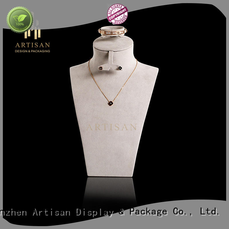 Artisan Brand cream pu Necklace Display Bust stand stand factory