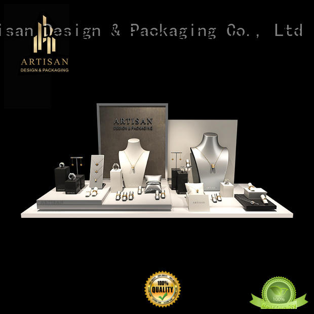 showcase suede jewelry display with stand for store